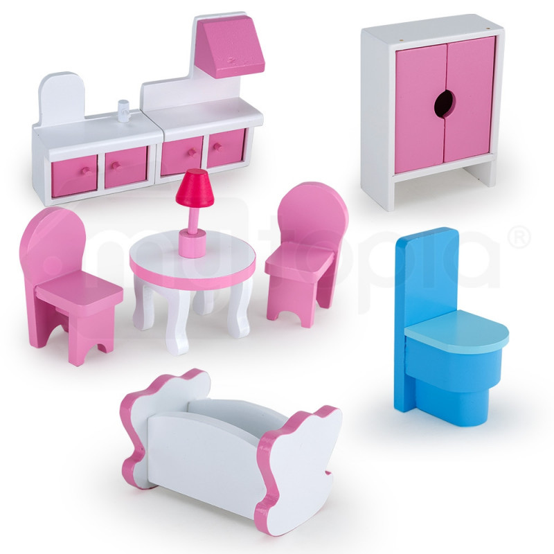 Wooden Doll House Girls Pretend Play Furniture 3 Level Large Toy Pink Dollhouse by Rovo Kids
