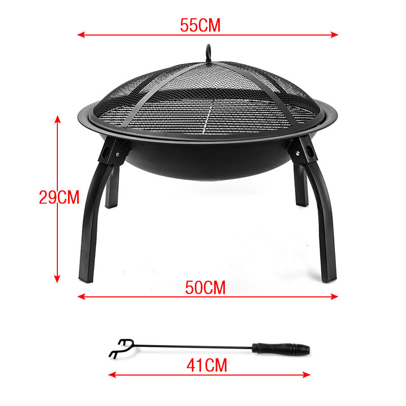 "22"" Outdoor Fire Pit BBQ Portable Camping Fireplace Heater Patio Garden Grill by Thermomate"