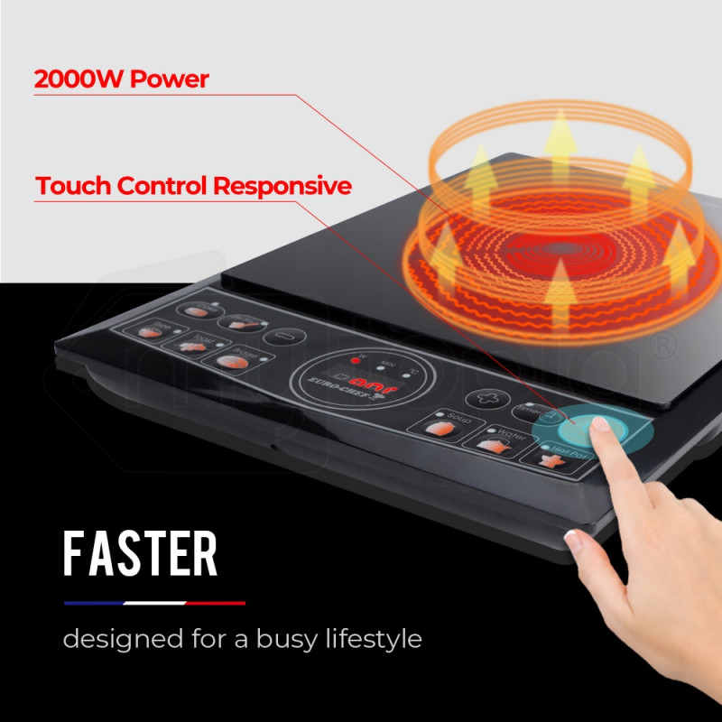 EuroChef Electric Induction Cooktop Portable Kitchen Cooker Ceramic Cook Top by EuroChef