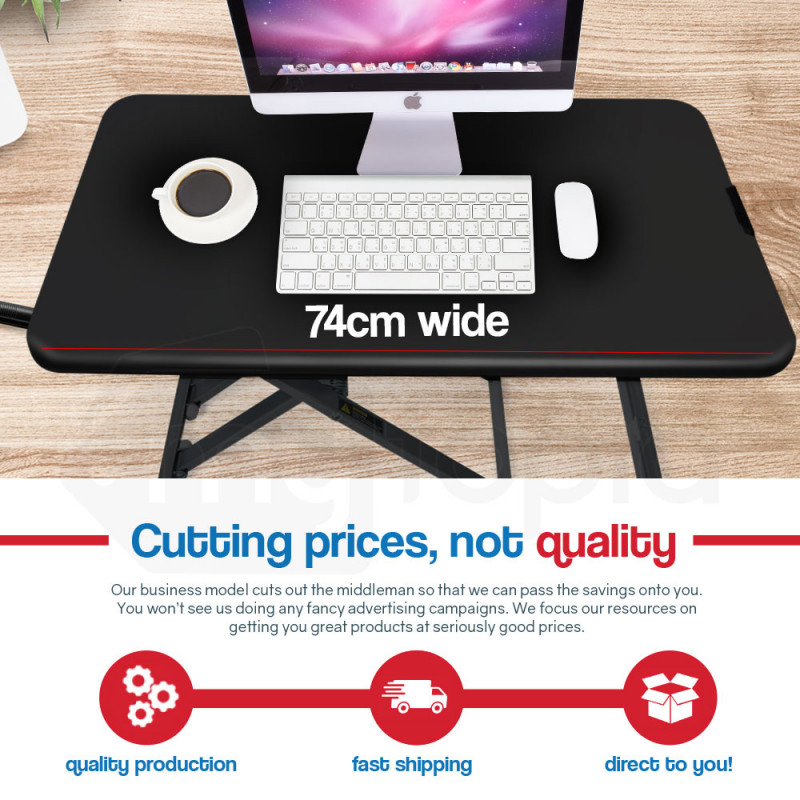 FORTIA Laptop Sit/Stand Height Adjustable Riser Desk 74cm Black by Fortia