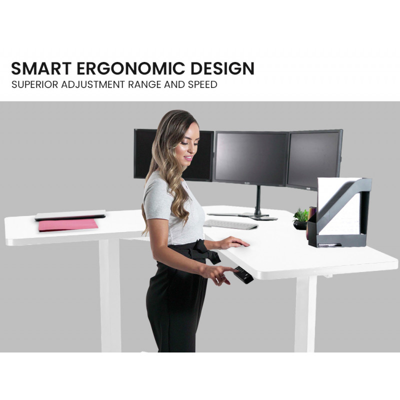 FORTIA Height Adjustable Standing Desk Sit Stand Corner Office Desk, White by Fortia