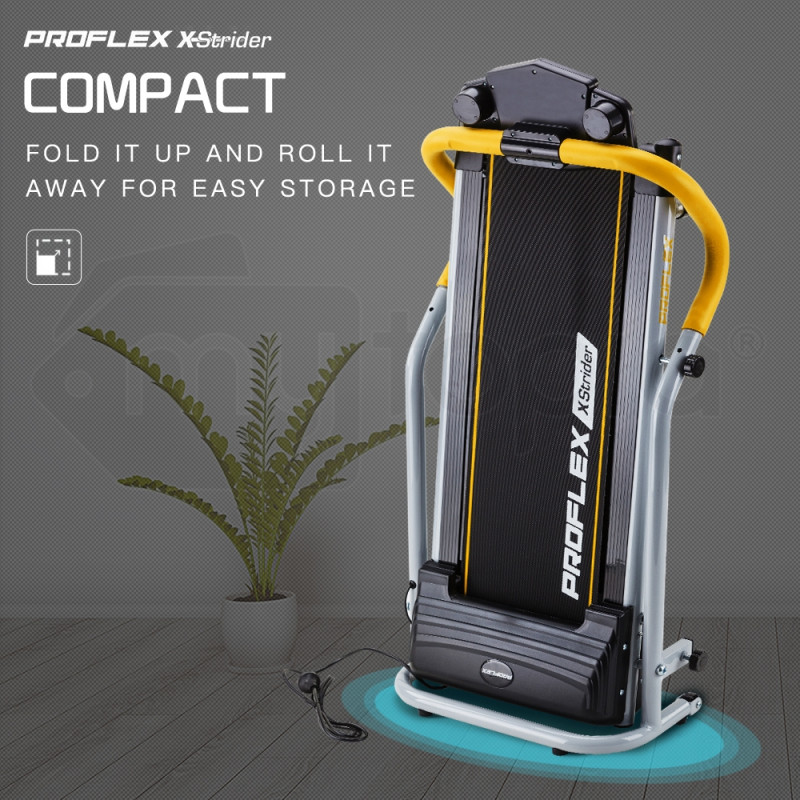 PROFLEX Electric Treadmill Compact Home Gym Exercise Equipment Black/Silver/Yellow by Proflex