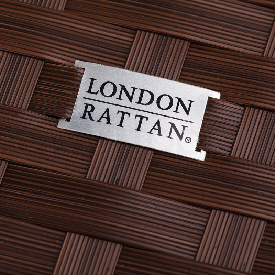 LONDON RATTAN Modular Sofa Outdoor Lounge Set 5pc Wicker Brown Cream by London Rattan