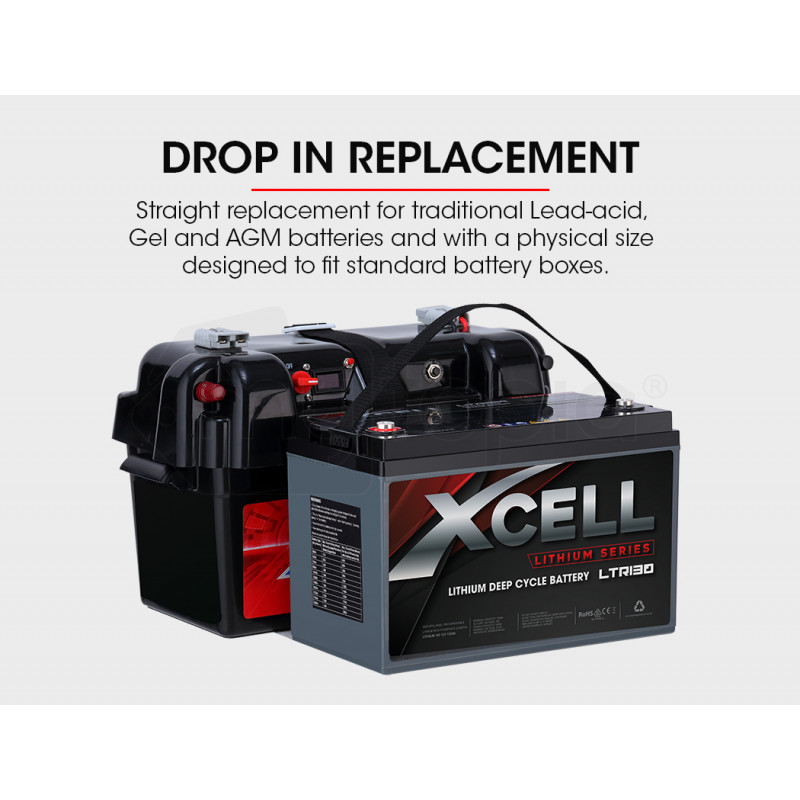 X-CELL 130Ah 12v Lithium-Iron LiFePO4 Deep Cycle Battery with BMS, for Camping, 4WD, Solar by X-Cell