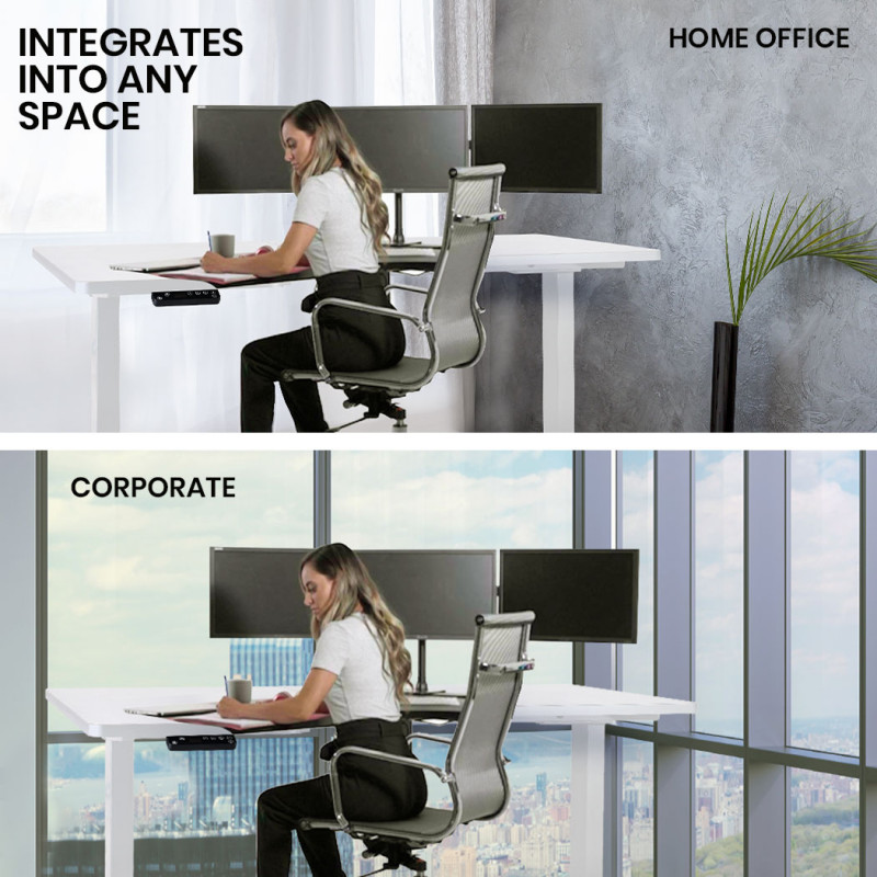 FORTIA Height Adjustable Left-Hand Sided Motorised Standing Computer Corner Desk, White by Fortia