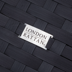 LONDON RATTAN Modular Outdoor Lounge Ottoman 1pc Wicker Black Light Grey by London Rattan
