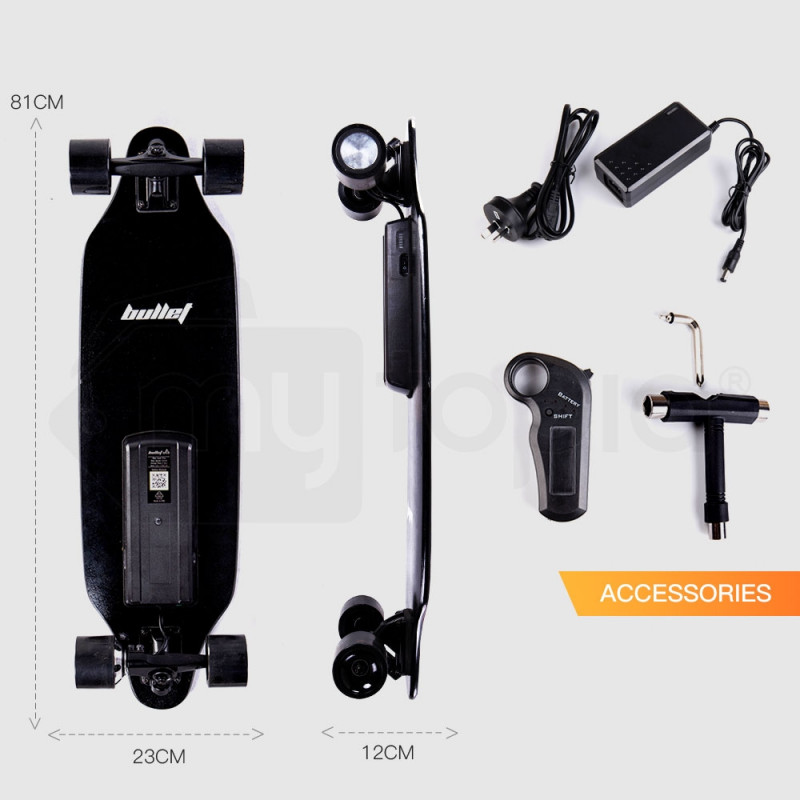 BULLET Electric Skateboard 250W Longboard w/ Remote Motorised Cruiser Board Kit by Bullet