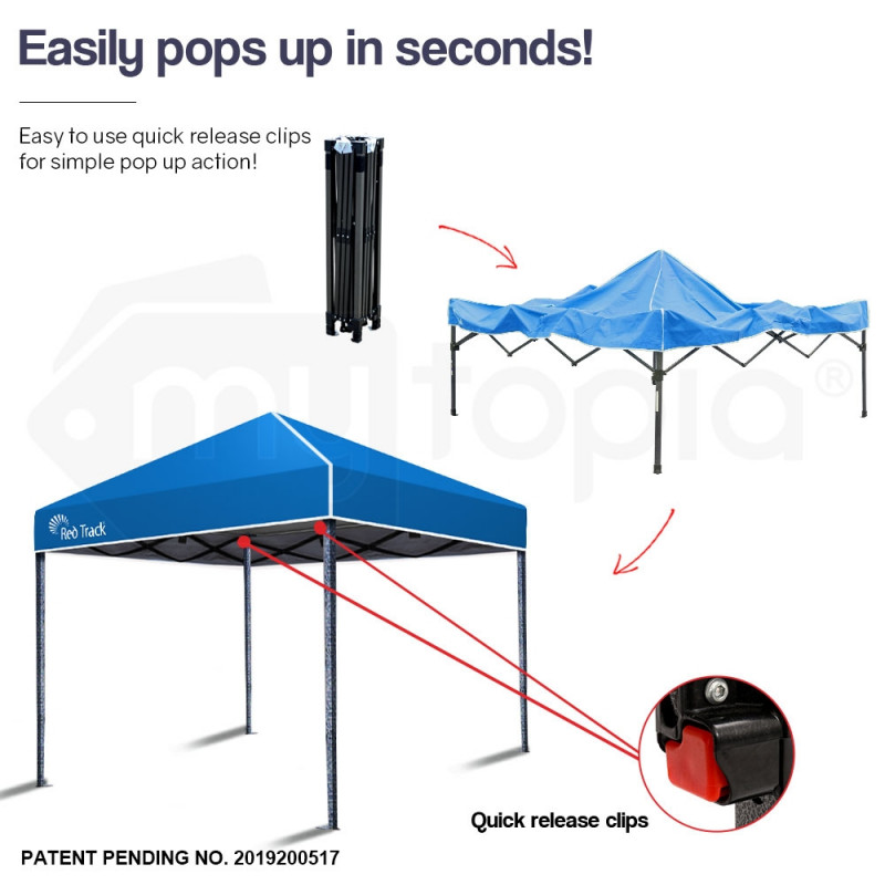 Red Track 3x3m Folding Gazebo Shade Outdoor Pop-Up Navy Foldable Marquee Blue by Red Track