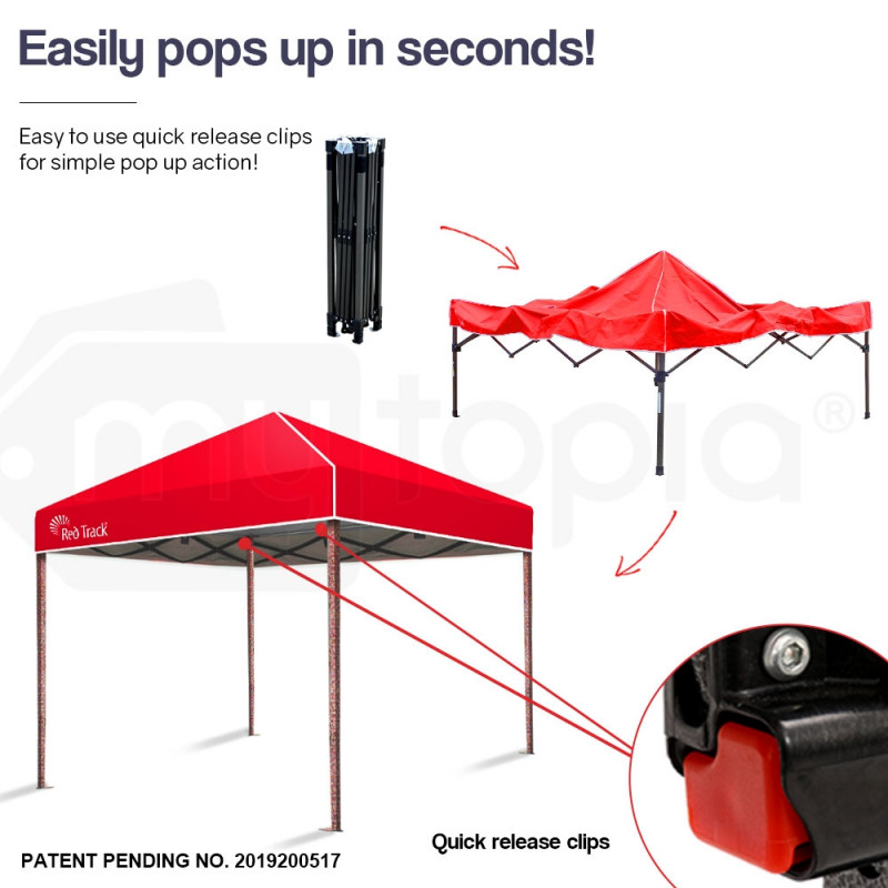 Red Track 3x3m Folding Gazebo Shade Outdoor Pop-Up Red Foldable Marquee Red by Red Track