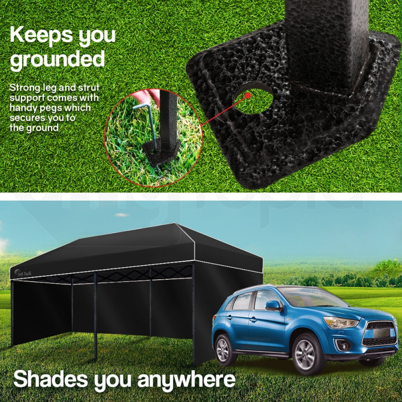 Red Track 3x6m Folding Gazebo Shade Outdoor BLACK Foldable Marquee Pop-Up by Red Track