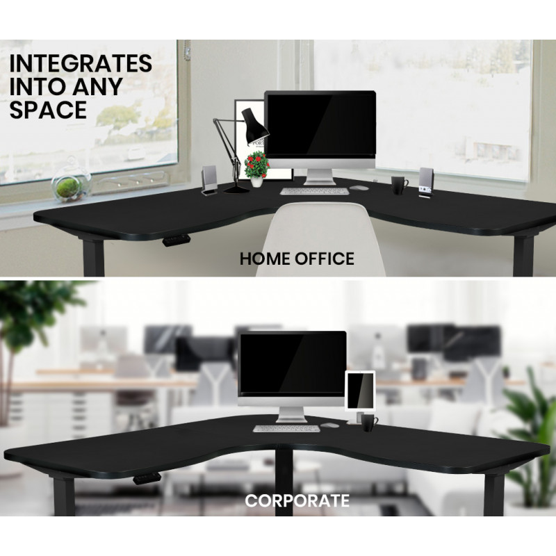 FORTIA Height Adjustable Standing Corner Desk Sit Stand, Electric, Motorised Office Black Frame by Fortia