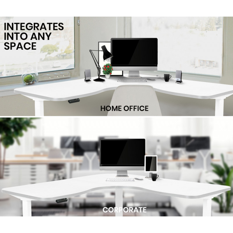 FORTIA Height Adjustable Standing Corner Desk Sit Stand Electric Motorised Office White Frame by Fortia