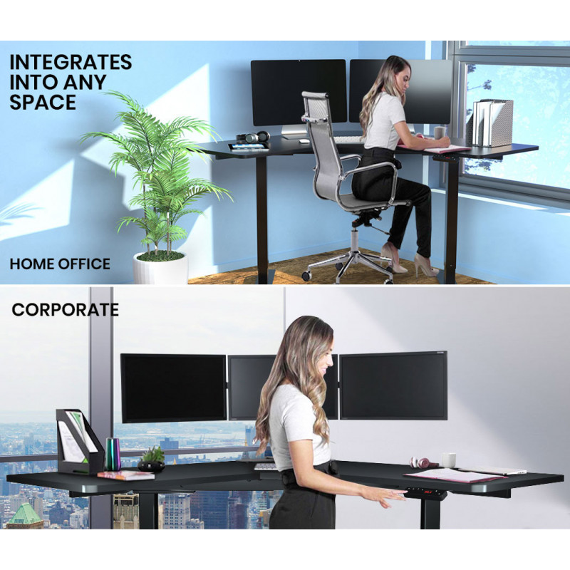 FORTIA Height Adjustable Standing Desk Sit Stand Corner Office Desk, Black by Fortia