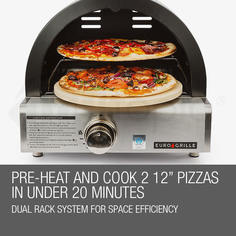 EuroGrille Portable Pizza Oven BBQ Camping LPG Gas Stainless Steel Benchtop by EuroGrille