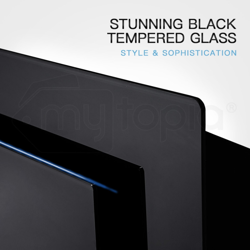 EuroChef Rangehood 900mm Black Angled Wall Mount Range Hood Tempered Glass 90cm by EuroChef