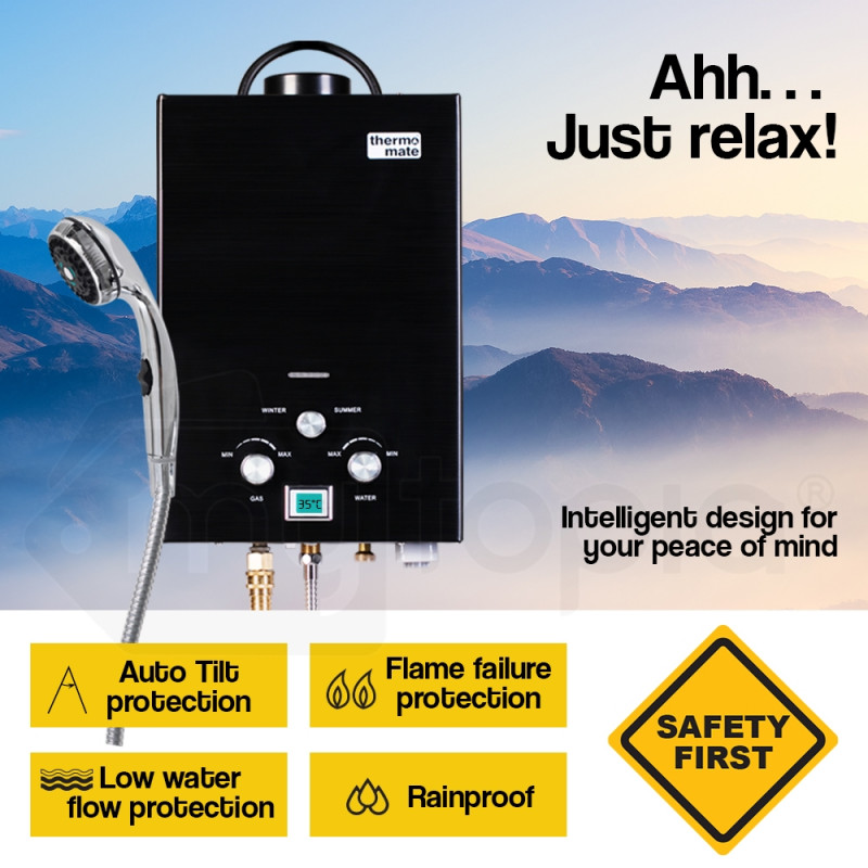 Thermomate Black Tankless Camping Shower Water Heater by Thermomate