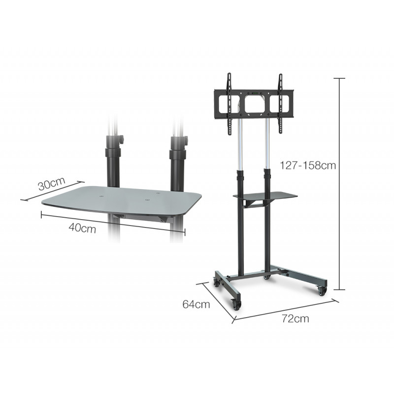 FORTIA Tall Mobile TV Stand for 37-70 Inch Television Screens Adjustable Universal Holds 68kg Black by Fortia