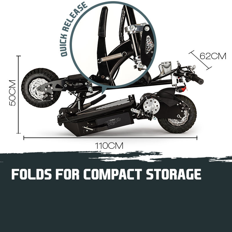 BULLET Black 48V 1000W Turbo w/ LED Folding Electric Scooter For Adults- Stealth 1-6 by Bullet