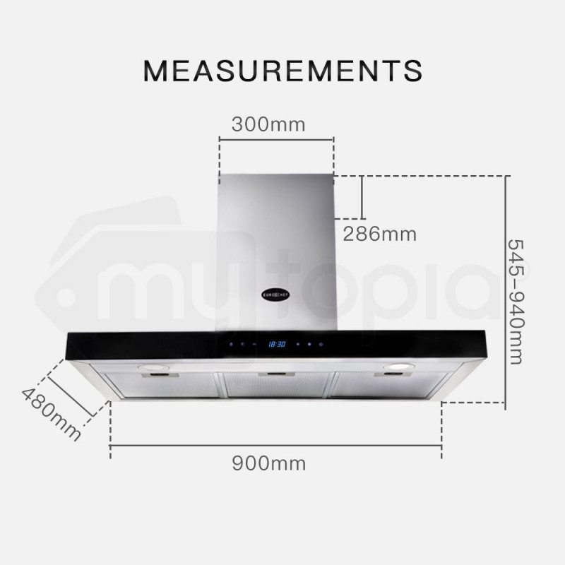 EuroChef Stainless Steel 900MM Wall Mounted Rangehood Classic T-Style by EuroChef