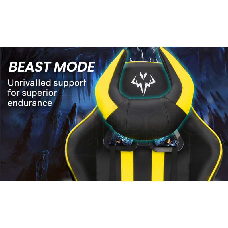 OVERDRIVE Diablo Reclining Gaming Chair with Neck and Lumbar Cushions, Black and Yellow by Overdrive