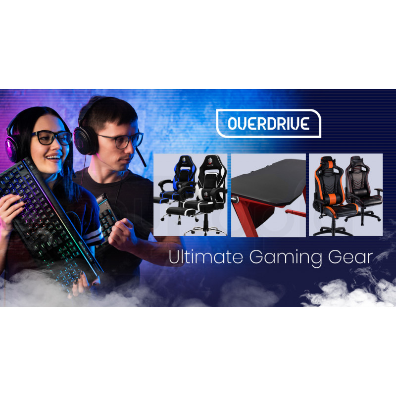 OVERDRIVE Gaming PC Desk Carbon Fiber Style Black Red by Overdrive
