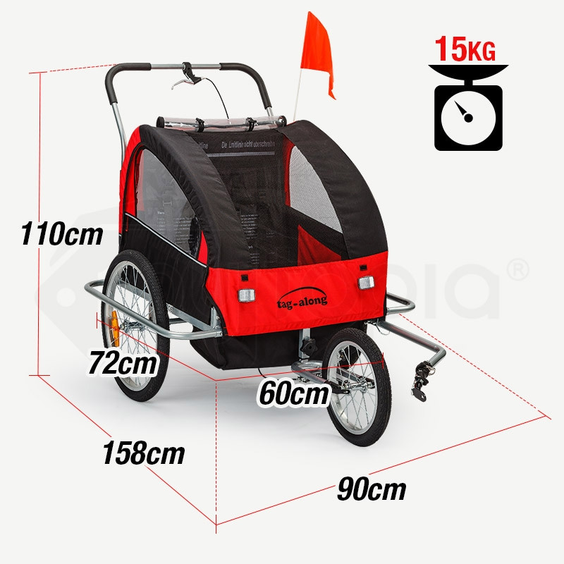 Tag-along Kids Bike Trailer Child Bicycle Pram Stroller Children Jogger Red by Tag-Along