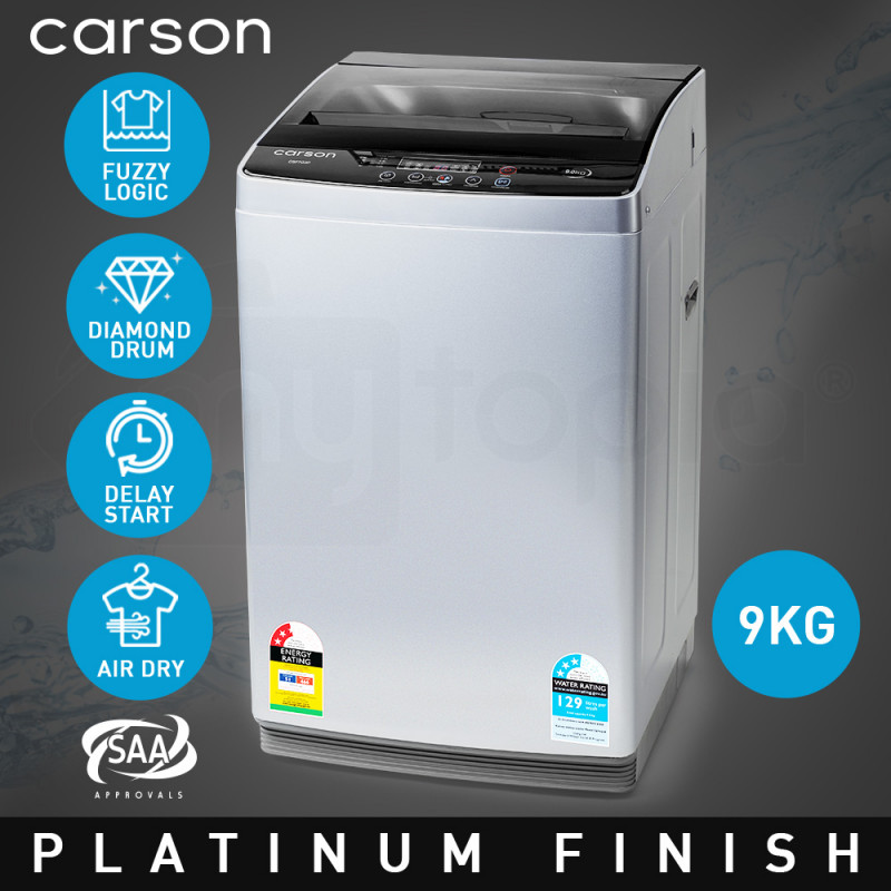 CARSON 9kg Top Load Washing Machine Home Dry Wash Automatic Washer Grey Laundry  by Carson