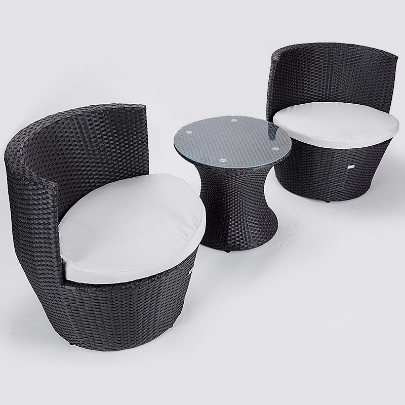 LONDON RATTAN Wicker 3 Piece Outdoor Furniture Set - Table Chairs Garden Setting by London Rattan