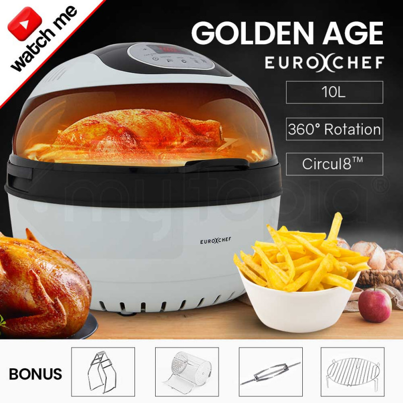 EUROCHEF 10L Electric Digital Air Fryer with Rotisserie, Rotating Fry Basket, Rack and Tongs, White by EuroChef