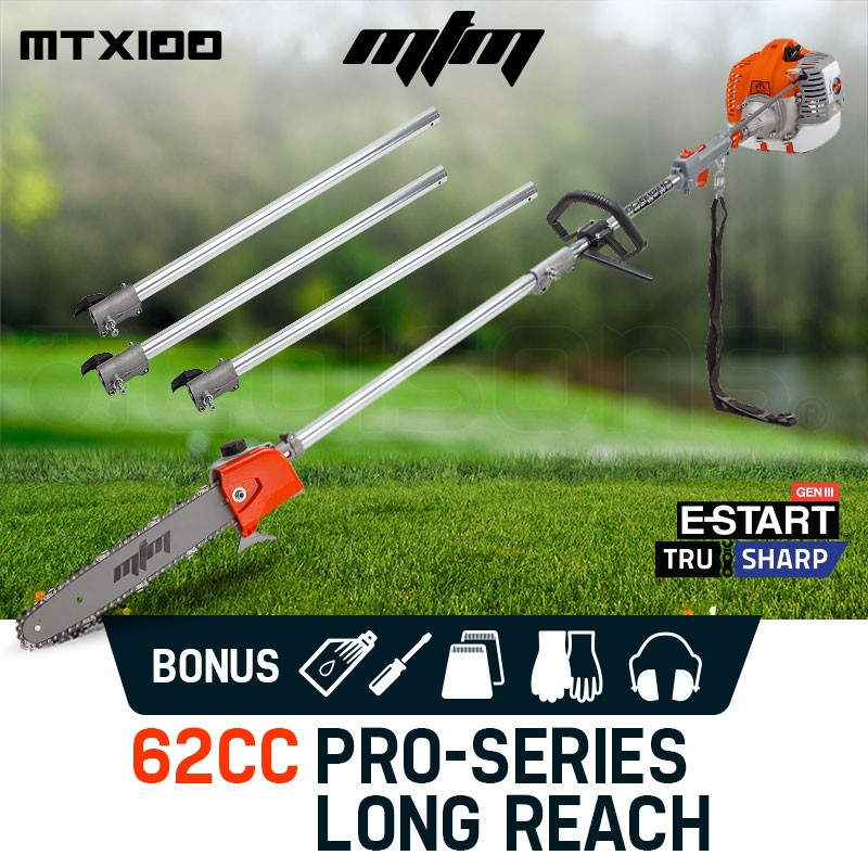 MTM 62CC Pole Chainsaw Petrol Chain Saw Brush Cutter Brushcutter Tree Pruner by MTM