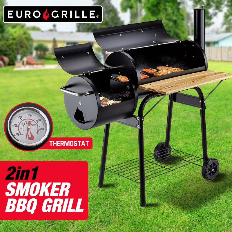 EuroGrille 2in1 Charcoal Smoker BBQ Grill Roaster Portable Steel Oven Barbeque by EuroGrille