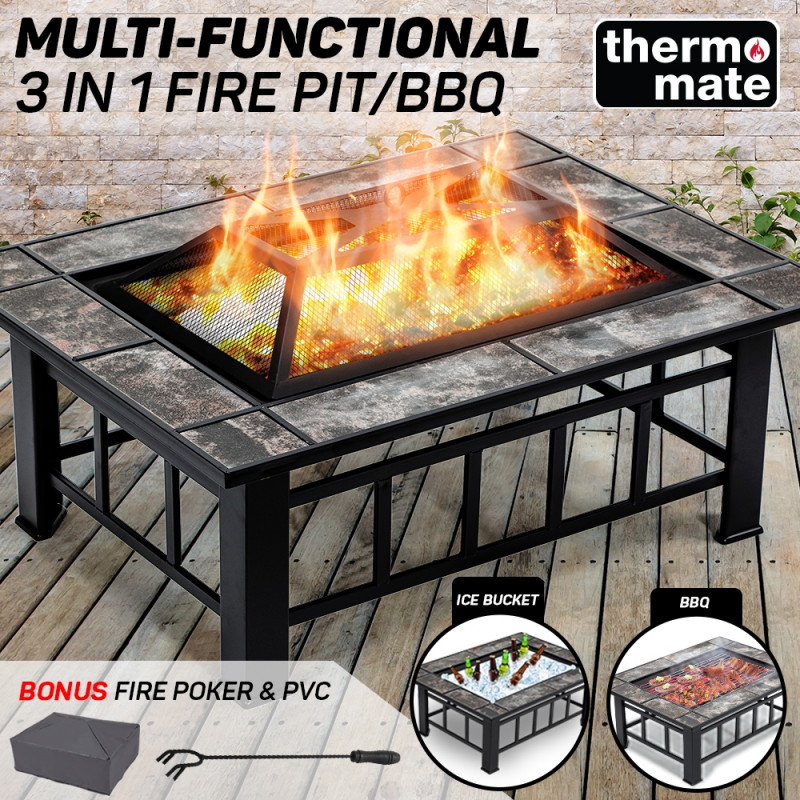 THERMOMATE 3in1 Outdoor Fire Pit BBQ Grill Heater Brazier Camping Fireplace by Thermomate