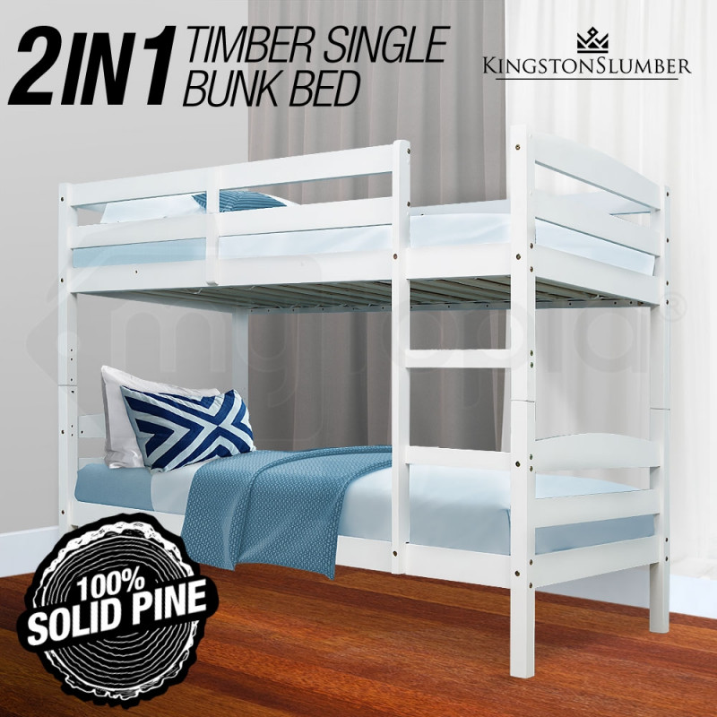 KINGSTON Single Bunk Bed Frame Wooden Kids Timber Loft Bedroom Furniture by Kingston Slumber