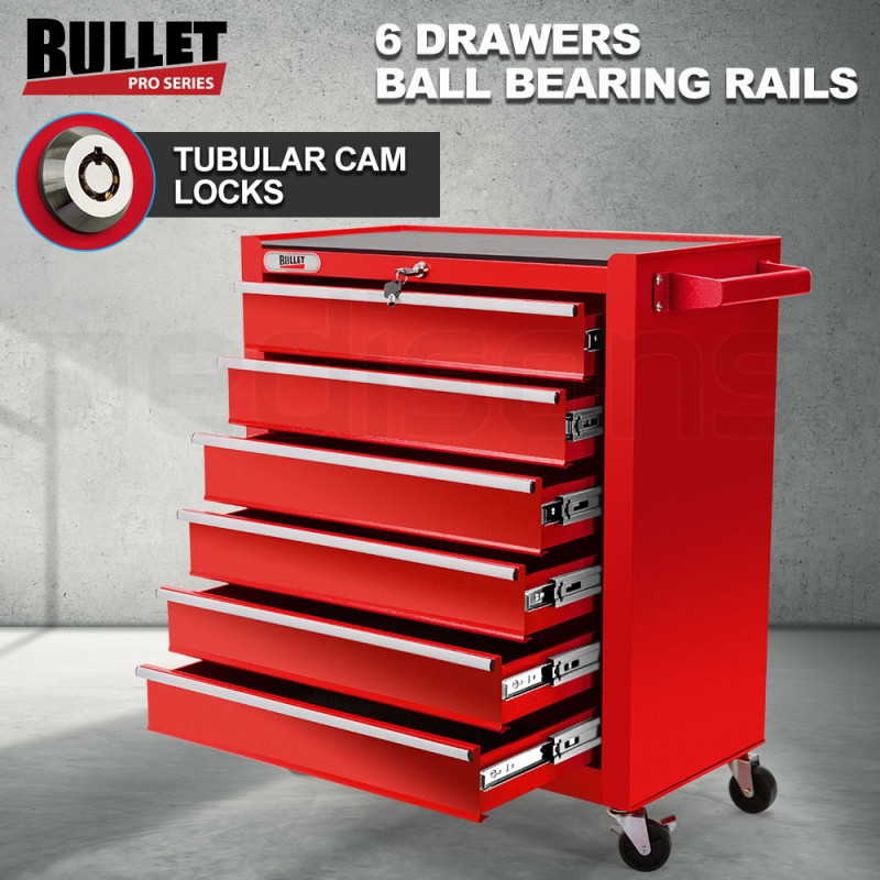 BULLET 6 Drawer Tool Box Cabinet Trolley Garage Toolbox Storage Mechanic Chest Red by Bullet Pro
