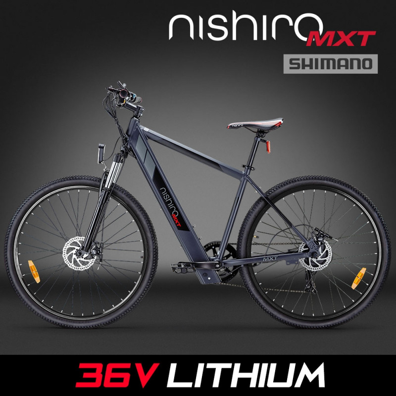 "Nishiro 36V 250W Shimano Electric Mountain Bike eBike Battery 29"" Black - MXT by Nishiro"