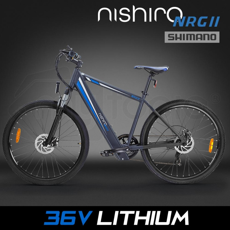 "Nishiro eMTB 36V 250W Shimano Electric Mountain Bike eBike Battery 27.5"" Black - NRG II by Nishiro"