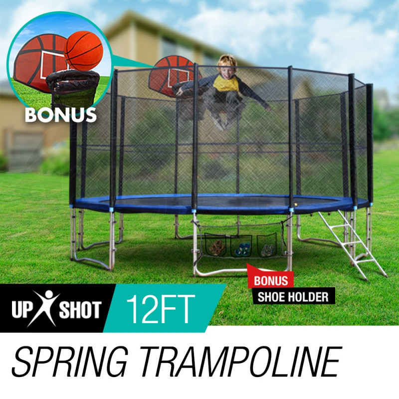 12ft Round Trampoline FREE Basketball Set Safety Net Spring Pad Cover Ladder by Up-Shot