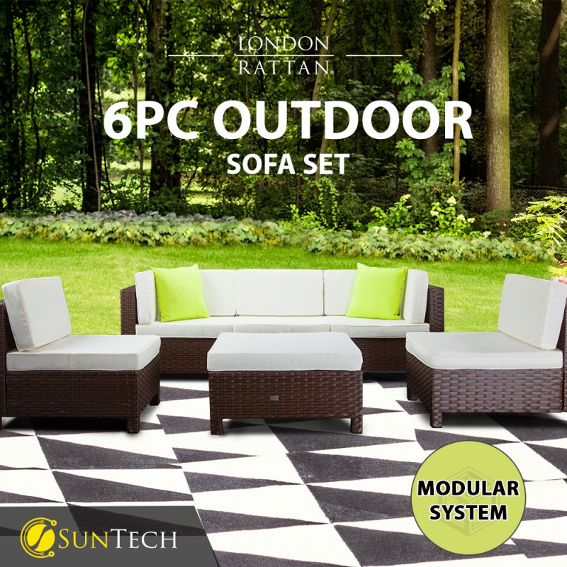 LONDON RATTAN Modular Sofa Outdoor Setting Lounge Set 6pc Wicker Black Light Grey by London Rattan
