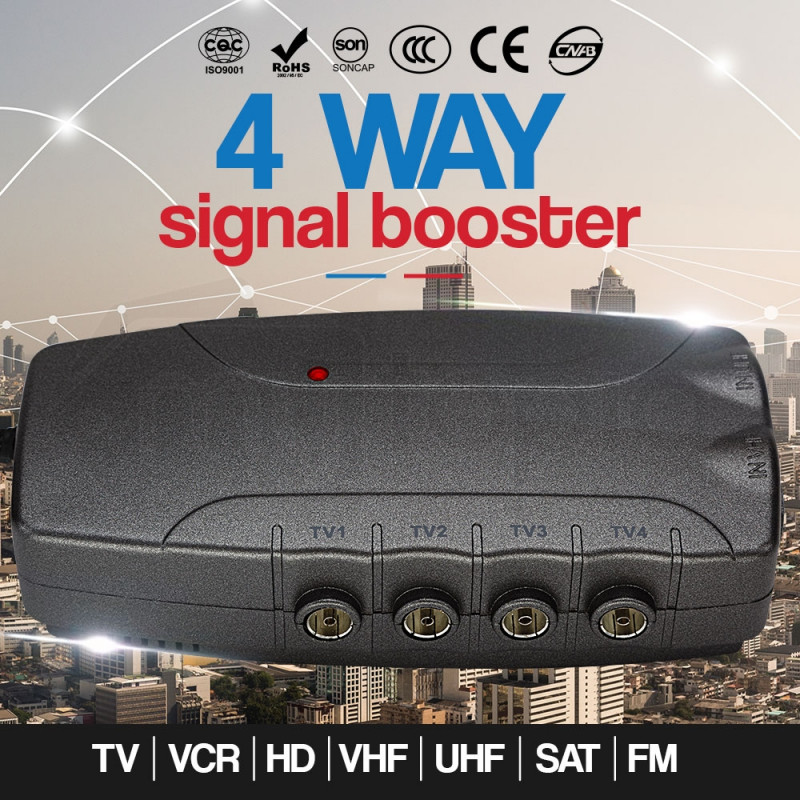 4 Way Digital Signal Booster TV VCR Satellite Antenna Amplifier Splitter by Mytopia