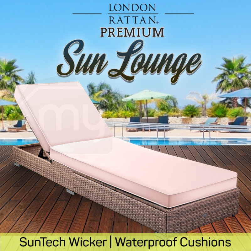 LONDON RATTAN Wicker Premium Outdoor Sun Lounge Pool Furniture Bed Designer by London Rattan