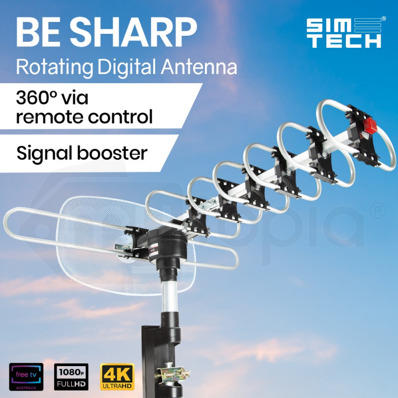 SIMTECH Digital Rotating Outdoor HD TV Antenna with Amplified Signal						 by Simtech