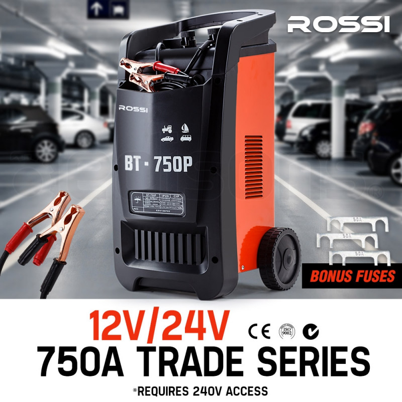 ROSSI Car Battery Charger 750A 12v/24v Jump Starter ATV Boat Truck Tractor by Rossi