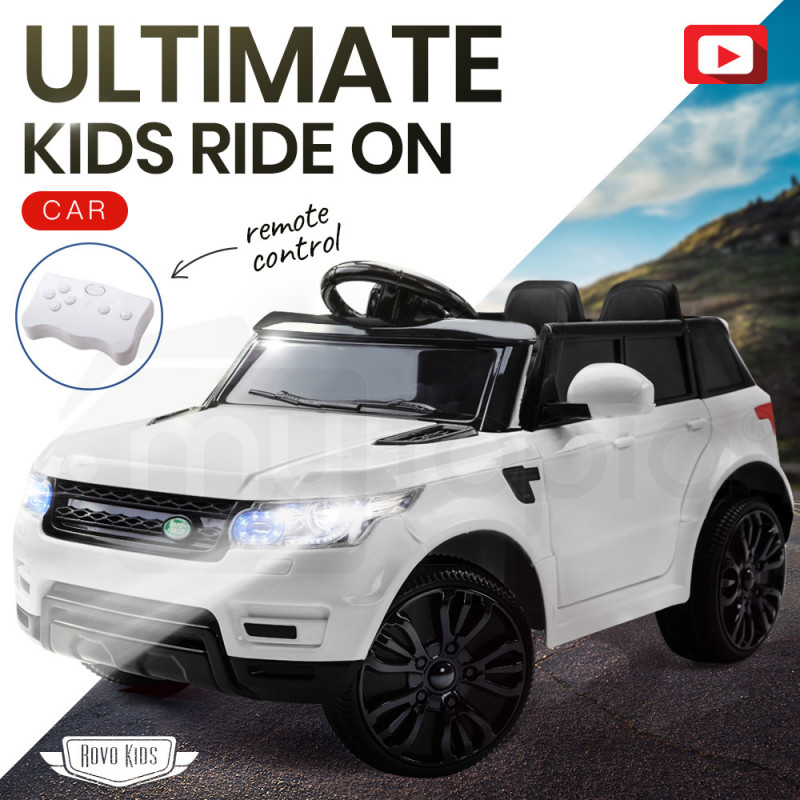 Rovo Kids White 12V Remote Control Ultimate Kids Ride On Electric Cars by Rovo Kids