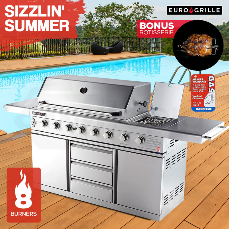 EuroGrille 8 Burner BBQ Outdoor Barbeque Gas Stainless Steel Kitchen by EuroGrille