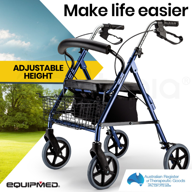 EQUIPMED 4 Wheel Aluminium Rollator Walker for Elderly, Blue by Equipmed