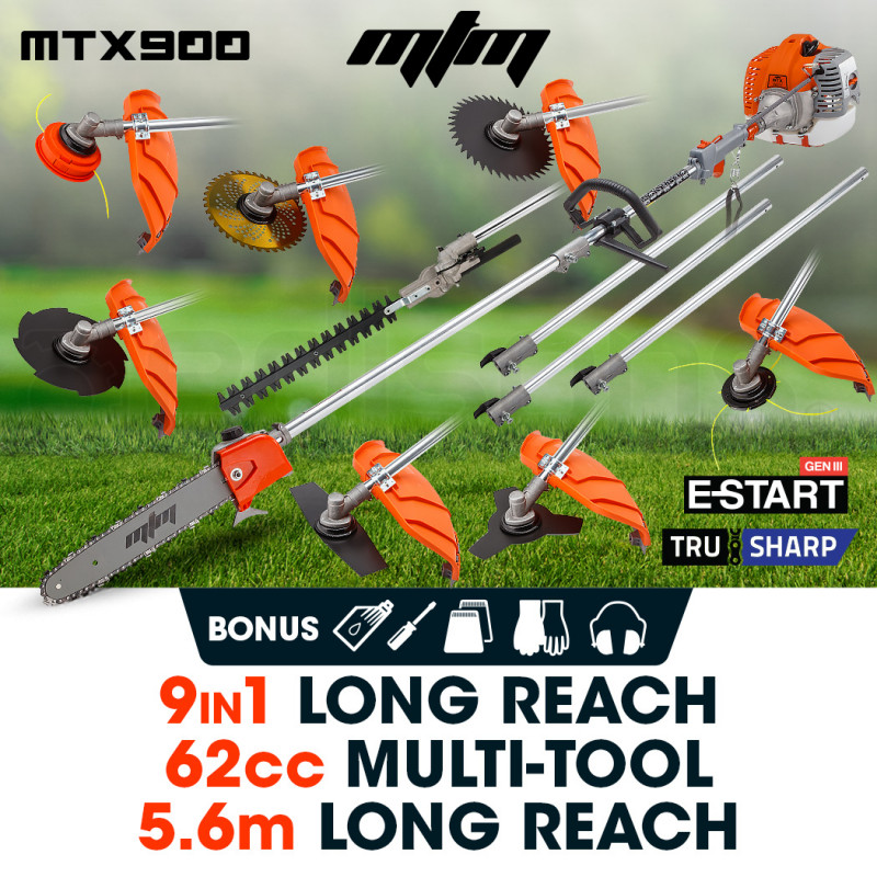 MTM 62CC Pole Chainsaw Hedge Trimmer Saw Brush Cutter Whipper Snipper Multi Tool by MTM