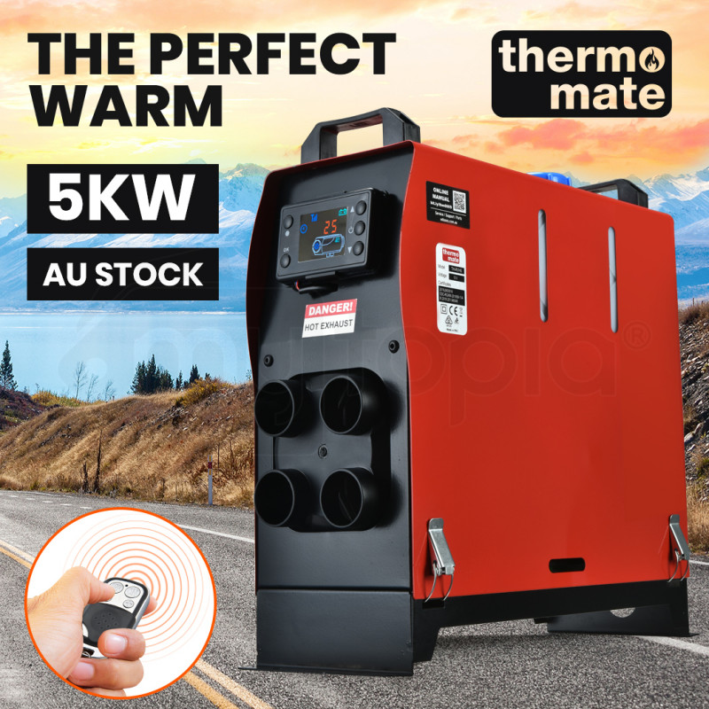 THERMOMATE 12V 5kW All-In-One Diesel Air Heater for Caravan Camper Trailer Van Motorhome RV, Red by Thermomate