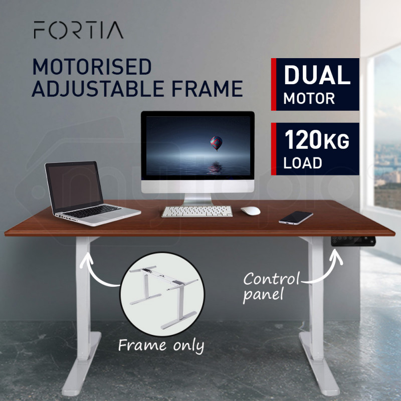 FORTIA Sit/Stand Motorised Height Adjustable Desk White by Fortia