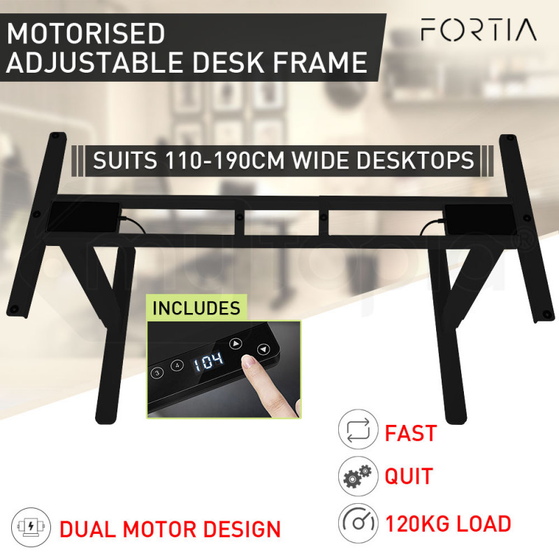 FORTIA Sit/Stand Height Adjustable Standing Desk Motorised Frame Black by Fortia