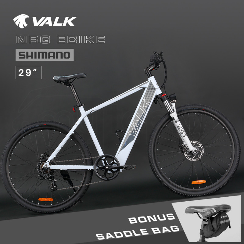 """VALK 29"""" Electric Hardtail Mountain e-Bike, Shimano, Integrated 36V 250W Battery, Disc Brakes, White and Grey by Valk"""